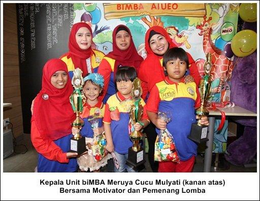 Kepala Unit biMBA Meruya, Cucu Mulyati (Kanan Atas) Bersama Motivator dan Pemenang Lomba