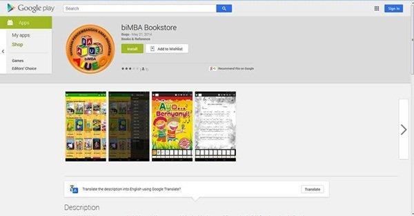 Tampilan biMBA Bookstore Melalui Penelusuran Web