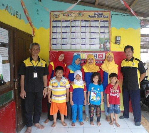Foto bersama dengan Pak Nurwanto pengelola unit Kemiri dan segenap SDM unit serta peserta didik.