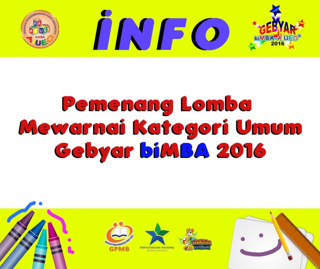 Pemenang Lomba Mewarnai Kategori Umum Gebyar biMBA 2016